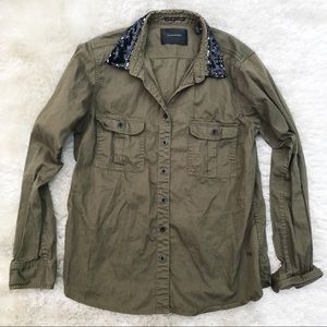 MAISON SCOTCH Army Green Button Down with Sequin